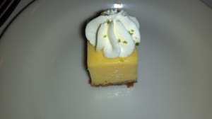 Key Lime Cheesecake – This was a two-bite finish; the graham cracker crust on the bottom was moist and the key lime bit was flavorful.